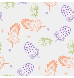 Seamless background pattern with abstract feathers vector