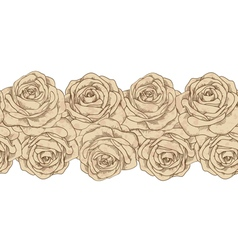 Seamless horizontal element frames and old roses vector