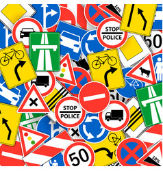 seamless pattern with road signs - funny design of vector image