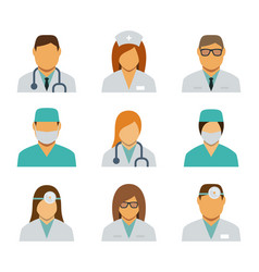 set avatar icons for medical staff vector image