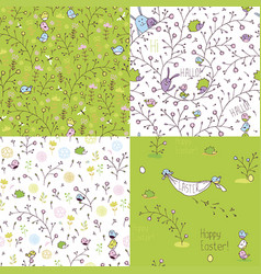set easter seamless patterns vector image