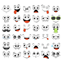 set emoticons with different mood vector image