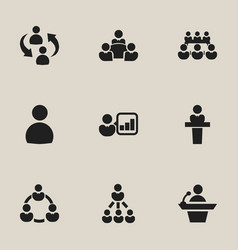 Set of 9 editable cooperation icons includes vector