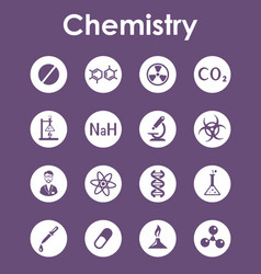 set of chemistry simple icons vector image