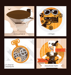 set of steampunk square cards with steam vector image