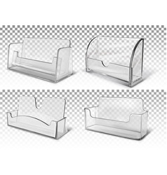 Set white transparent stands for business cards vector
