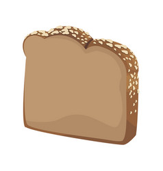 Slice loaf of freshly baked bread wheat grains vector