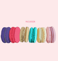 stack of different french cookies macaroons or vector image