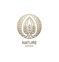 Succulent logo template emblem of vector