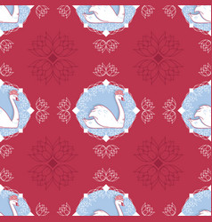 swan cameo in red with water lilies vector image