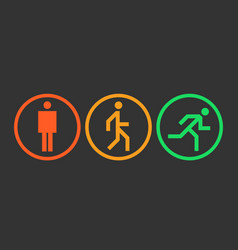 three states icons of the human body position vector image