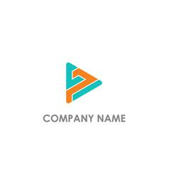 Triangle play shape company logo vector