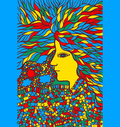 tribal woman portrait with hair - psychedelic vector image