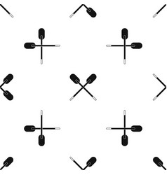 two wooden crossed oars pattern seamless black vector image