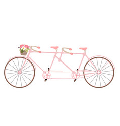 Valentines day vintage tandem bicycle vector