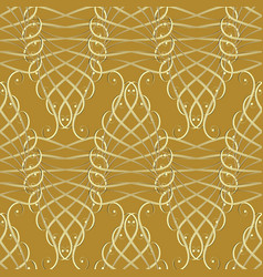 vintage gold calligraphic 3d seamless pattern vector image