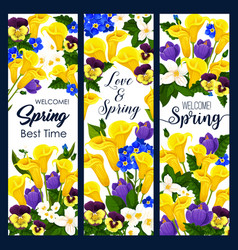 Welcome spring greeting banner of blooming flower vector