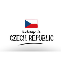 welcome to czech republic country flag logo card vector image