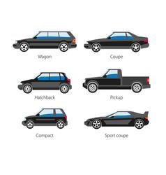 Car automobile body type names flat vector