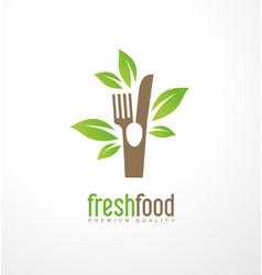 fresh food logo design vector image vector image