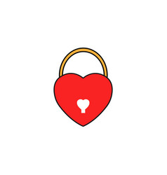 lock heart shaped solid icon love sign valentines vector image