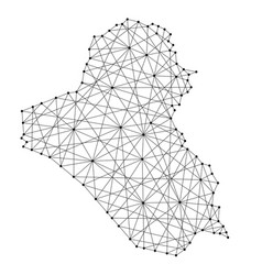 map of iraq from polygonal black lines and dots vector image vector image