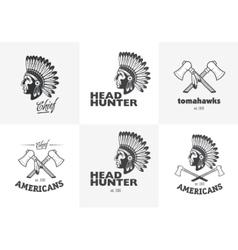 Set of american indian emblems labels badges vector image vector image