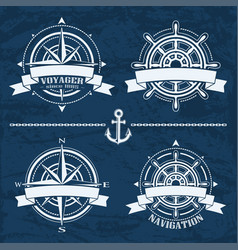 set of vintage nautical design elements vector image vector image
