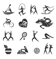 Sport fitness symbols vector image vector image