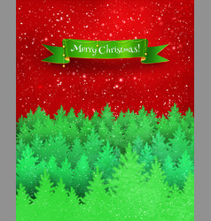 christmas greeting card with winter landscape vector image