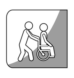Grayscale square frame shading with person helping vector