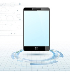 Modern mobile device over technology rings vector image vector image