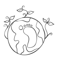 world hand draw design vector image