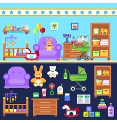 Baby boy room with furniture Nursery interior vector image