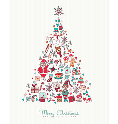Christmas and new year hand drawn icon pine tree vector
