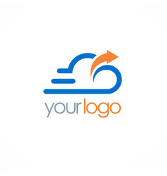 cloud upload technology logo vector image vector image