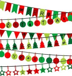 Decorative bunting with Merry Christmas and Happy vector image