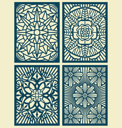 Laser cut fretwork pattern cards panels vector