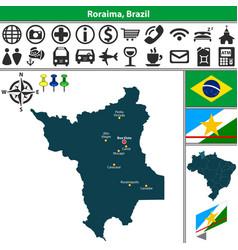 map of roraima brazil vector image vector image