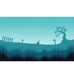 Silhouette of tomb and fog Halloween backgrounds vector image vector image