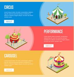 amusement park isometric horizontal flyers vector image