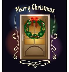 Christmas welcome wreath on front door vector