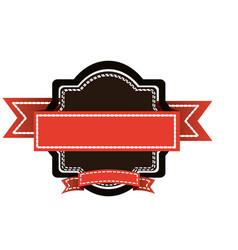 color big border with short ribbon decorative icon vector image