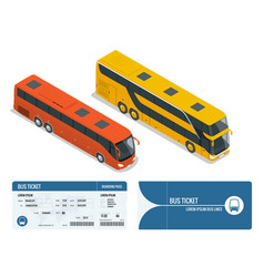 isometric realistic bus and boarding pass ticket vector image vector image