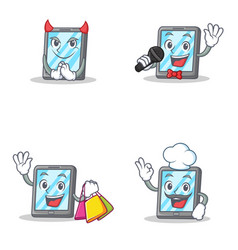set of tablet character with devil karaoke vector image vector image