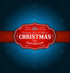 a retro christmas red design banner with vector image
