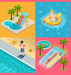 Aqua park composition isometric icon set vector