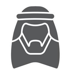Arab glyph icon male and muslim arabian man sign vector