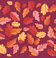 Autumn leaves seamless background fall pattern vector