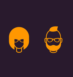 avatars geeks girl bearded man profile icons vector image